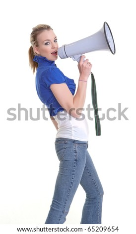 young woman with a megaphone or bullhorn isolated on white
