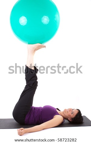 Young Woman with a stability ball