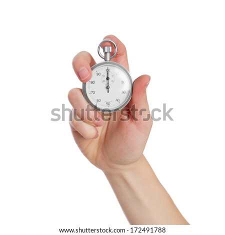young woman with a timer - stock photo