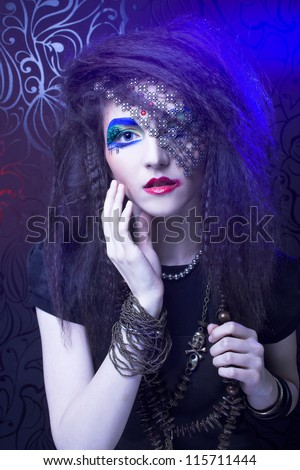Young woman with artistic visage