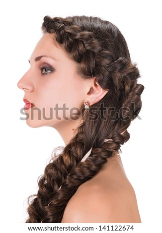 Young woman with beautiful hairstyle on a white background