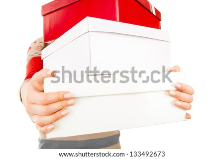 young woman with big boxes - isolated on a white background. Good winter, spring, autumn sales in shop