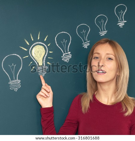 Young woman with big idea