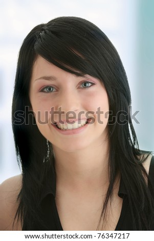 Young woman with big smile portrait