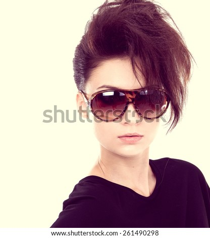 Young woman with big sunglasses-close up - stock photo