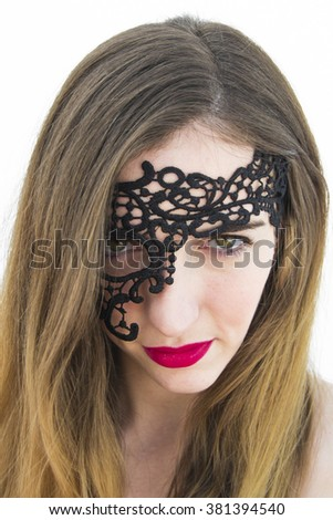 Young woman with black mask