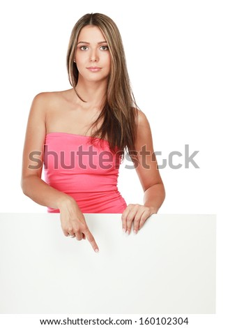 Young woman with blank board banner ,isolated on white background - stock photo