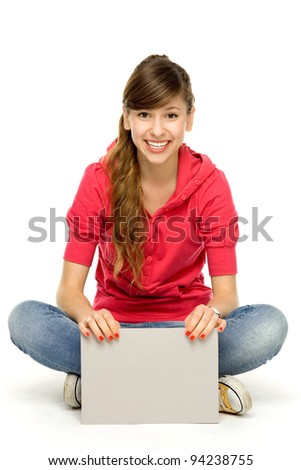 Young woman with blank card - stock photo