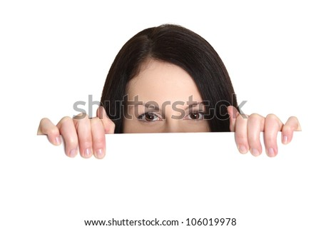Young woman with blank white board with partly covered face. Isolated on the white background.
