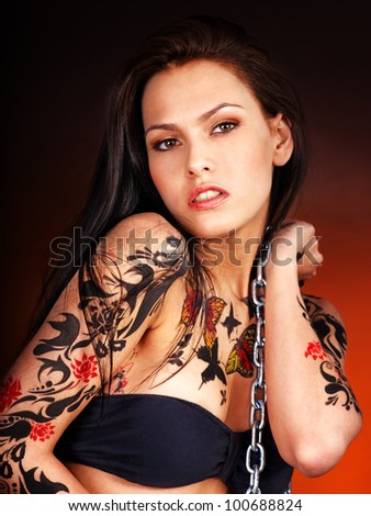 Young woman with body art .