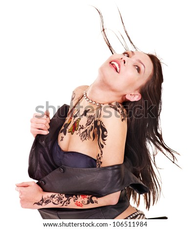 Young woman with body art . Isolated.