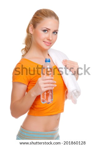 Young woman with bottle isolated - stock photo