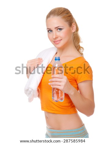 Young woman with bottle isolated
