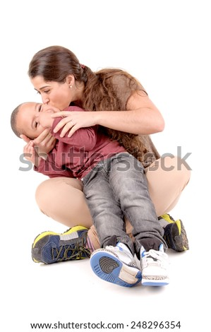 young woman with boy isolated in white background