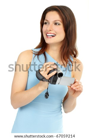 Young woman with camcorder. Isolated over white background
