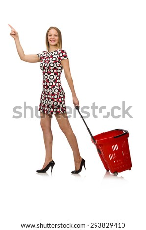 Young woman with cart isolated on white - stock photo