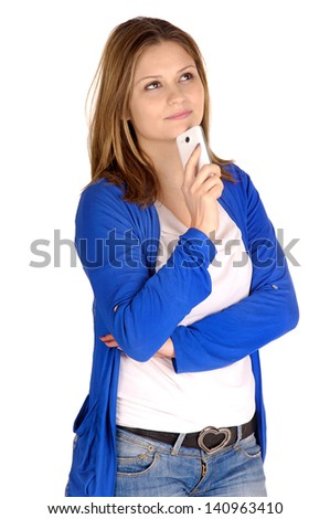 young woman with cellphone isolated in white
