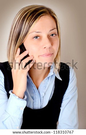 young woman with cellular