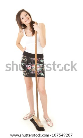 young woman with cleaning sweep, white background