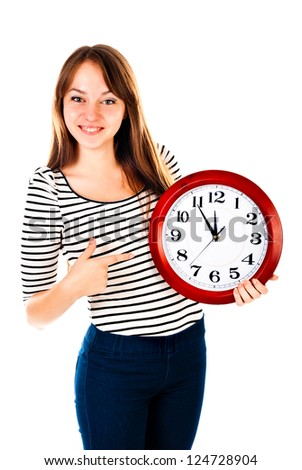 young woman with clock isolated on a white background - stock photo
