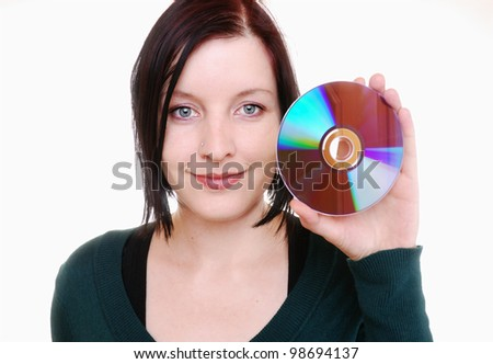 young woman with compact disc