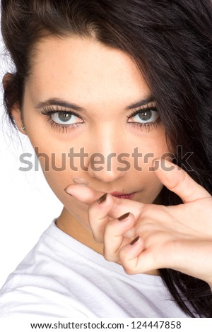Young woman with contact lenses - stock photo
