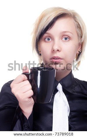 Young woman with cup of hot beverage, on white - stock photo