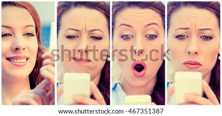 Young woman with different expressions texting on smart phone