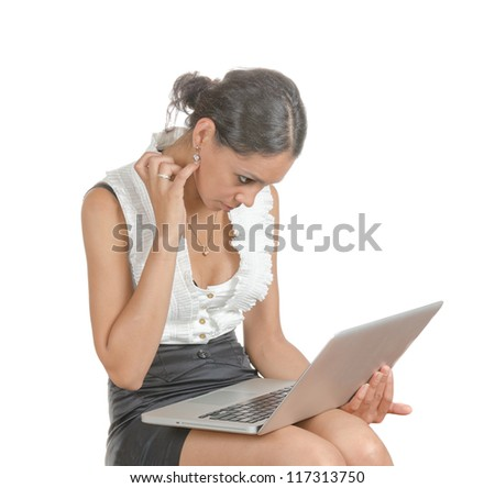 Young woman with different facial expressions. A secretary, executive making notices. Body language. Happy, surprised, thinking, listening. Isolated on white . - stock photo