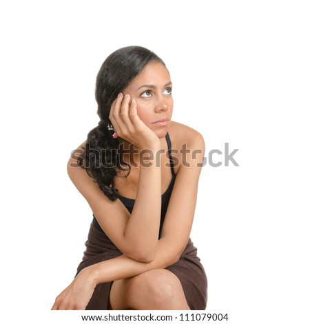 Young woman with different facial expressions. Body language. Happy, surprised, open. Isolated on white . - stock photo