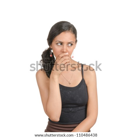 Young woman with different facial expressions. Body language. Surprised, bemused, thinking, confused . Isolated on white . - stock photo