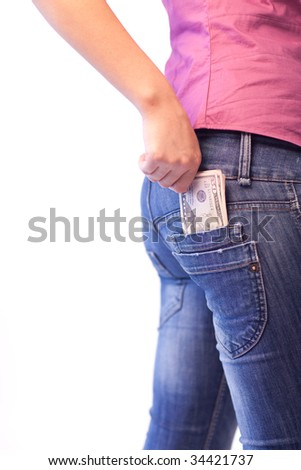 Young Woman with Dollars in her pocket