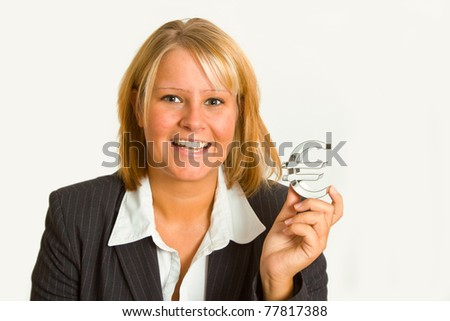 Young woman with euro sign isolated on white background