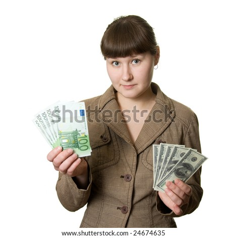 young woman with euros and dollars over white