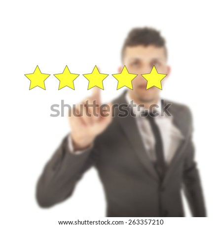 Young woman with five stars isolated on white background - stock photo