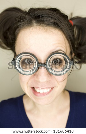 young woman with funny glasses