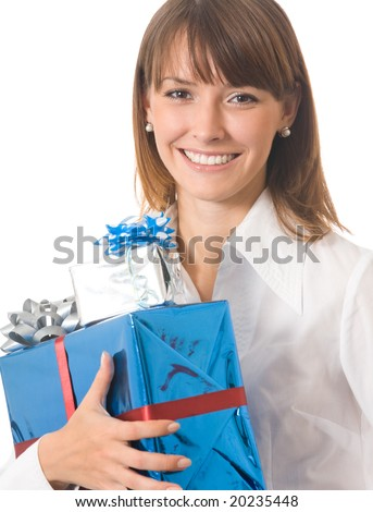 Young woman with gifts, isolated on white