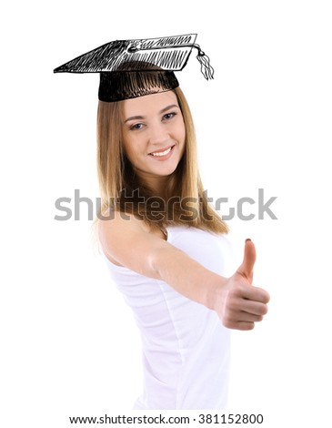 Young woman with graduation cap, isolated on white - stock photo