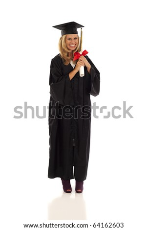 Young woman with graduation gown and diploma