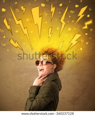 Young woman with hair style and hand drawn lightnings concept on background - stock photo