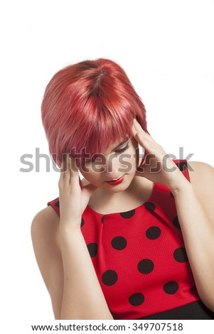 young woman with headache - stock photo
