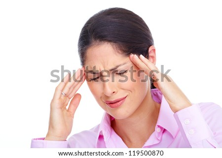 Young woman with headache. Isolated over white background. - stock photo