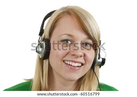 Young woman with headset on isolated white background.