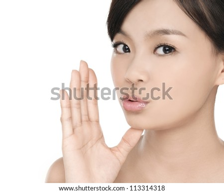 Young woman with healthy beautiful skin on white background/cosmetic s for face skin. - stock photo