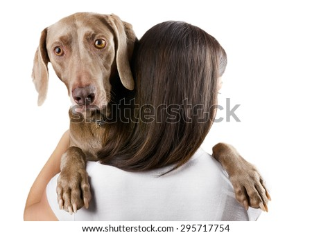 young woman with her dog isolated on a white background - stock photo