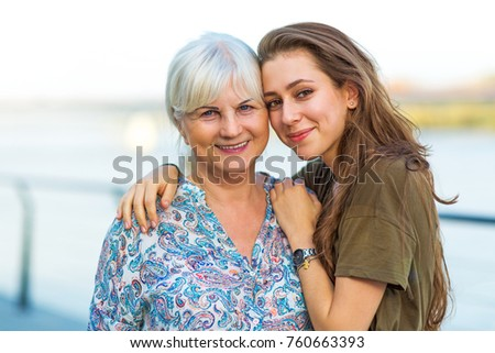 Young woman with her grandma