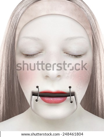 Young woman with her mouth closed by a zipper. Face stylized like a porcelain complexion. Photo manipulation.  - stock photo