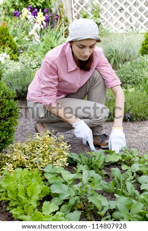 Young woman with hoe working in the garden bed - stock photo