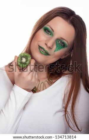 young woman with kiwi