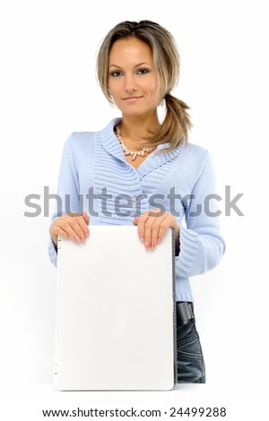young woman with laptop against white